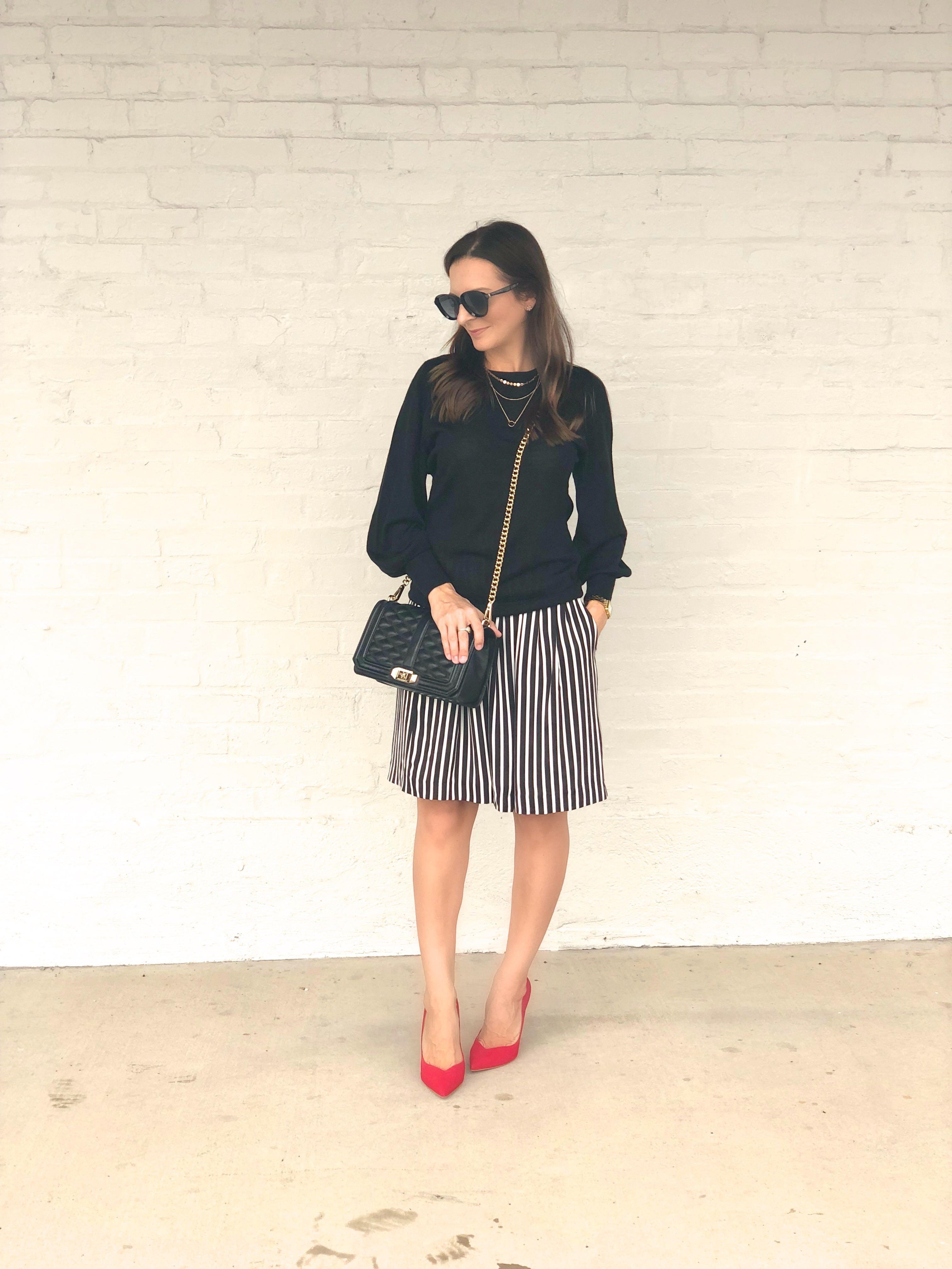 a-line stripe skirt, J.Crew Factory skirt, fall skirt style, red schutlz pumps